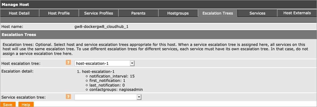 apply an escalation tree to a host